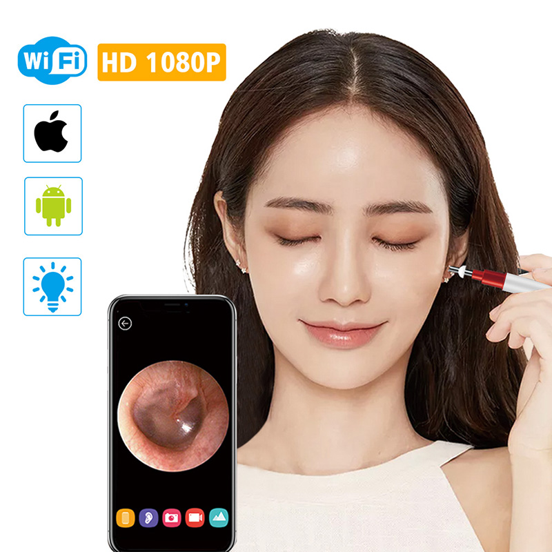 3 9mm WiFi Ear Otoscope Wireless HD1080P Digital Endoscope Ear Inspection Camera Earwax Cleaning Tool with
