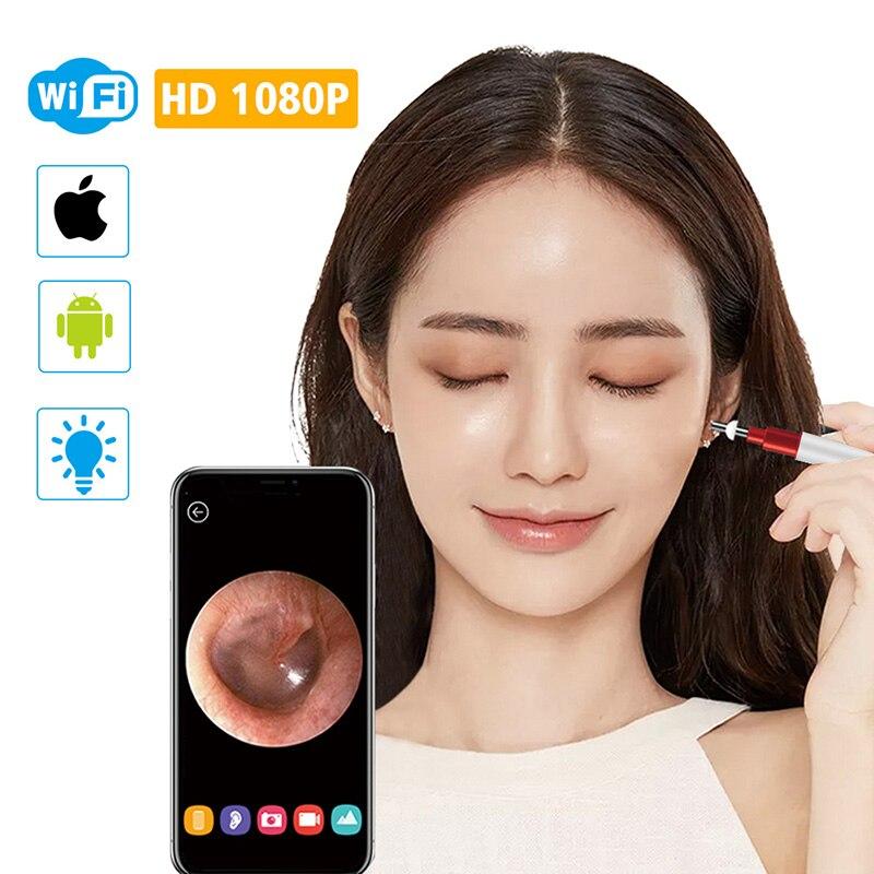 3.9 milímetros WiFi Endoscópio Otoscópio Orelha HD1080P Digital Sem Fio Câmera de Inspeção de Ferramenta de Limpeza de Cera de Ouvido com 6 Led para IOS android