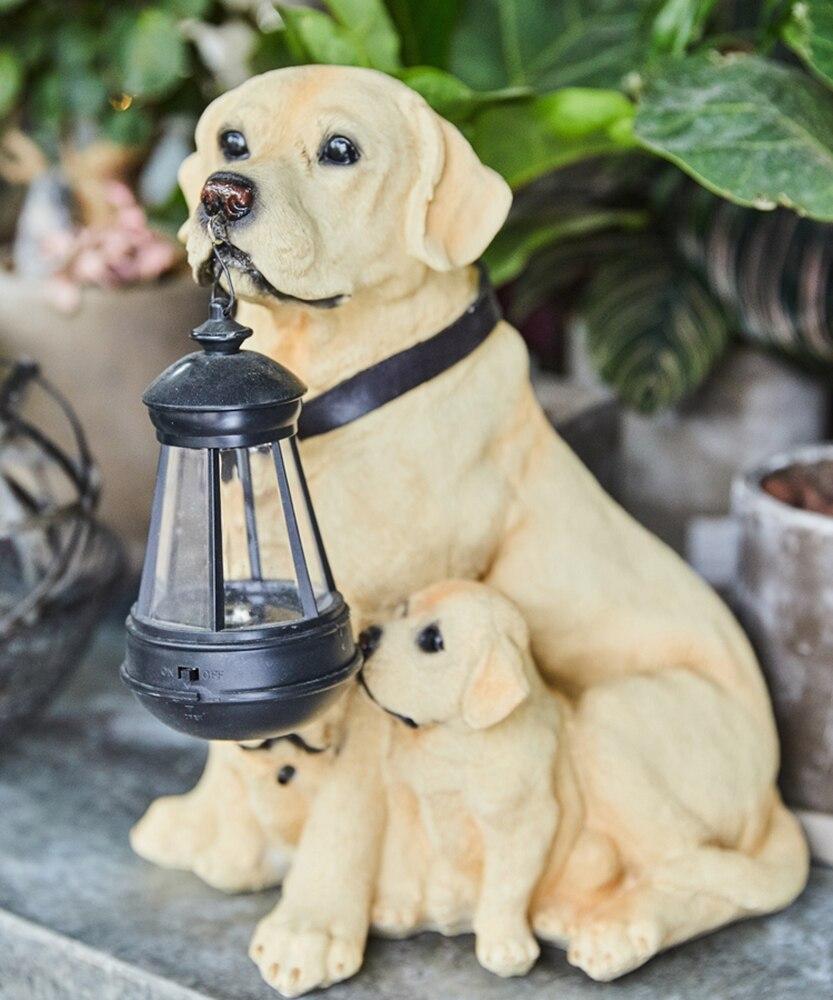 Estátua Animal jardim Quintal Cão Golden Retriever Rottweiler Cão escultura Mobiliário Home Decor Amarelo Com UMA Lâmpada de Lanterna Solar - 4