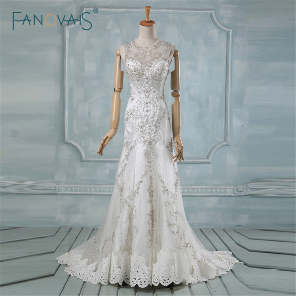 Hollow Back Embroidery Real Photo Heavy Beading Wedding Dresses Elegant Mermaid Long High Quality Bridal Wedding Dresses