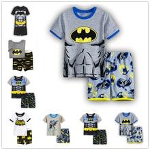 Kids Pajamas Boys Clothes Sleepwear Tracksuit 2 Piece Set Boy Cartoon Batman 2019 Summer Children Clothing suit