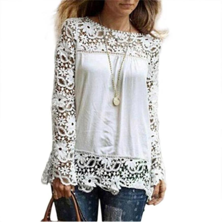Ladies Tops Long Sleeve Casual Lace Hollow Out Summer Top Female Clothing Women Blouses Blusas Feminina &510