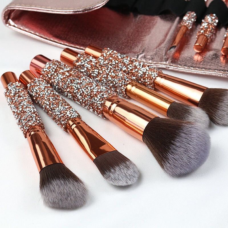 10pcs/set Gold Diamond Makeup Brushes Set Foundation Blending Powder Eye Face Brush with Bag Makeup Tool Kit maquillaje