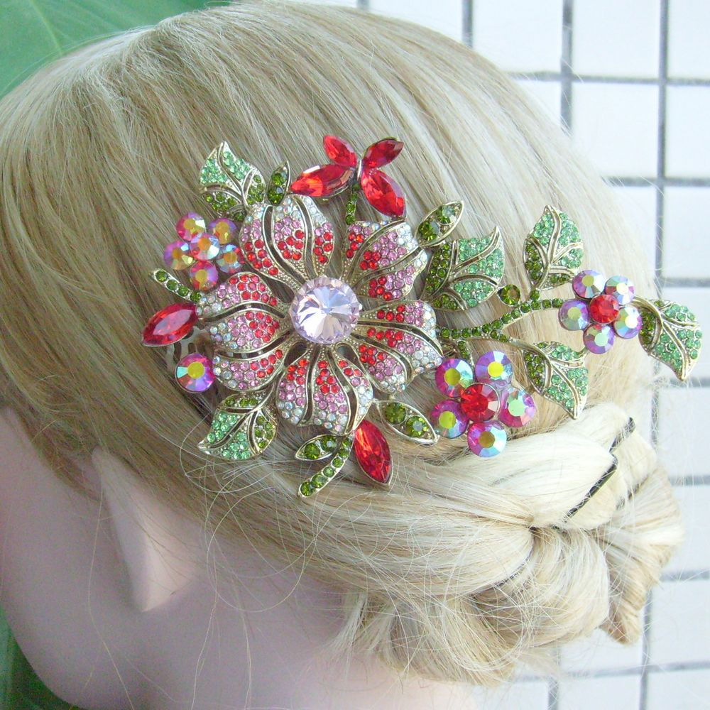 HelenaJewelry Hair Jewelry 4.72 Inch Gold-tone Multicolor Rhinestone Crystal Orchid Flower Hair Comb FSE04712C3
