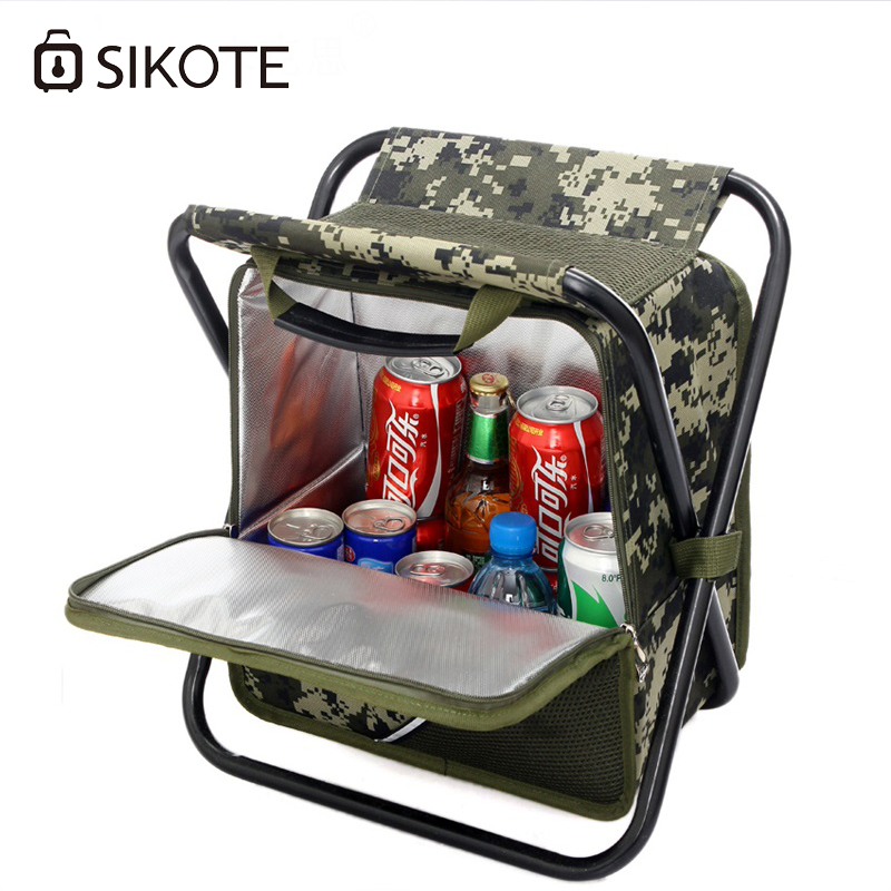 SIKOTE Fold Cooler Bag Chair Insulation Lunch Box Tote Bag Waterproof Crossbody Food Picnic Bag Lancheira Termica Marmitas aresland insulated lunch bag for women kids thermal cooler picnic food bags for women lady thicken cold insulation thermo bag