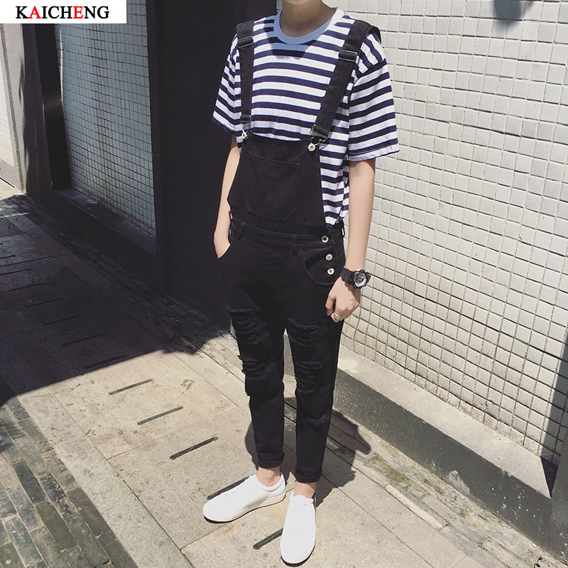 Male Suspenders 2016 New Brand Casual black and white Denim Overalls Ripped Jeans Pockets Menu0026#39;s ...