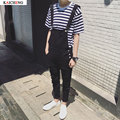 Male Suspenders 2016 New Brand Casual black and white Denim Overalls Ripped Jeans Pockets Men's Bib Jeans Boyfriend  Jumpsuits