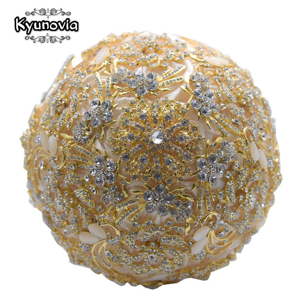 Kyunovia Luxurious Wedding Bouquet Gold Brooches Bouquet Crystal Accessories Silk Wedding Flowers Bridal Bouquets FE91