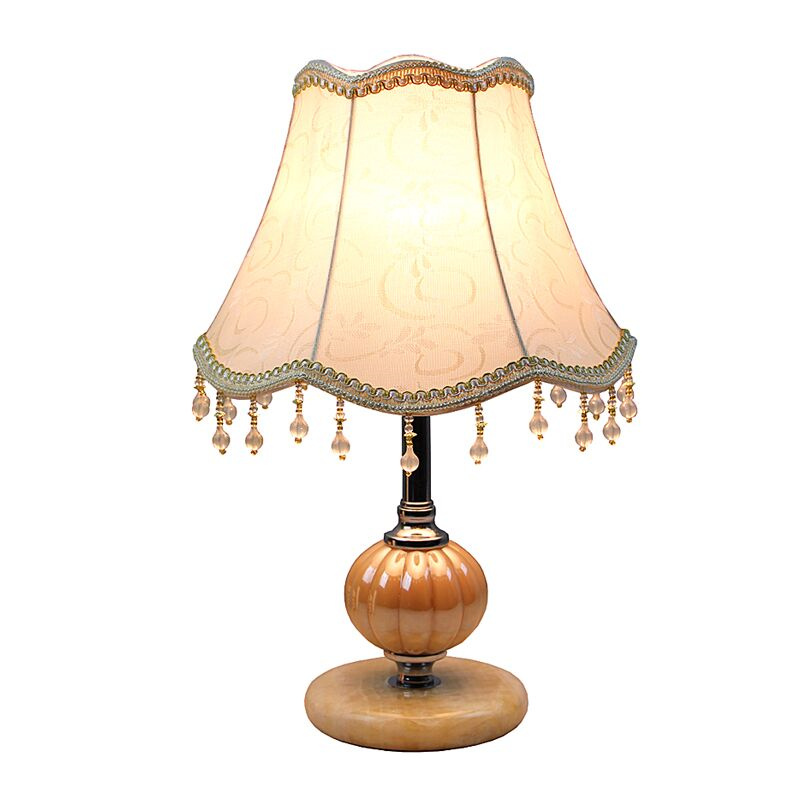 E27 Européenne réglable lumière chambre LED table lampe de fer + décoration de tissu lampe de chevet avec cordon d'alimentation éclairage intérieur
