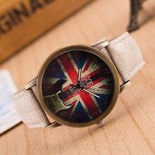 Retro Women Dress Watches Creative Design Quartz Wristwatch Fashion Casual Denim Fabric Band Ladies Watch Clock Relogio Feminino