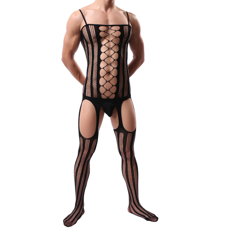 Stockings Bodysuits Fishnet-Socks Pantyhose Open-Crotch Siamese One-Piece Tight Men's