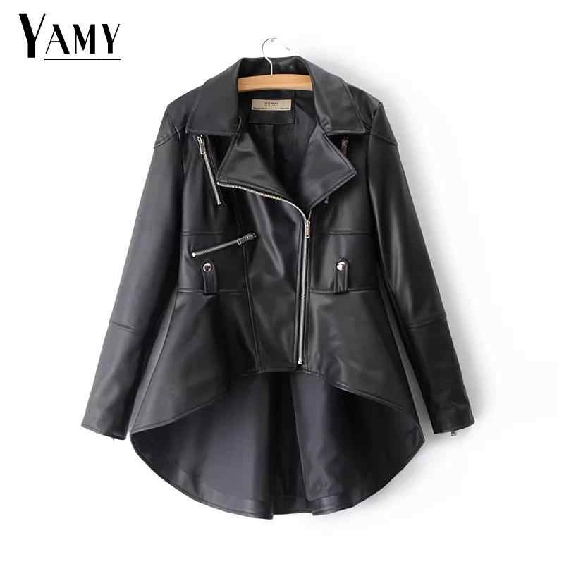 Autumn winter loose black Gold PU Leather Jacket women punk rock Motorcycle coat Streetwaer long Biker jacket outwear 2018