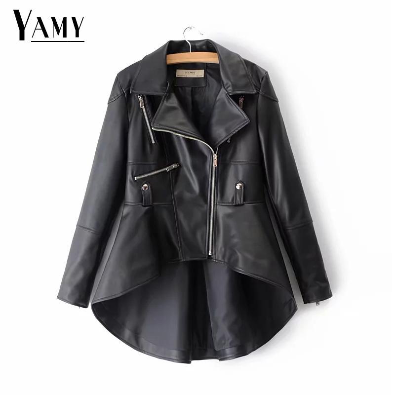 Autumn winter loose black Gold PU Leather Jacket women punk rock Motorcycle coat Streetwaer long Biker jacket outwear 2018