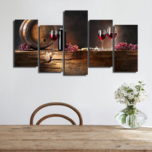 HD Printed 5 piece canvas art grape red wine glasses Oak barrels painting on canvas wall pictures for living room Free shipping