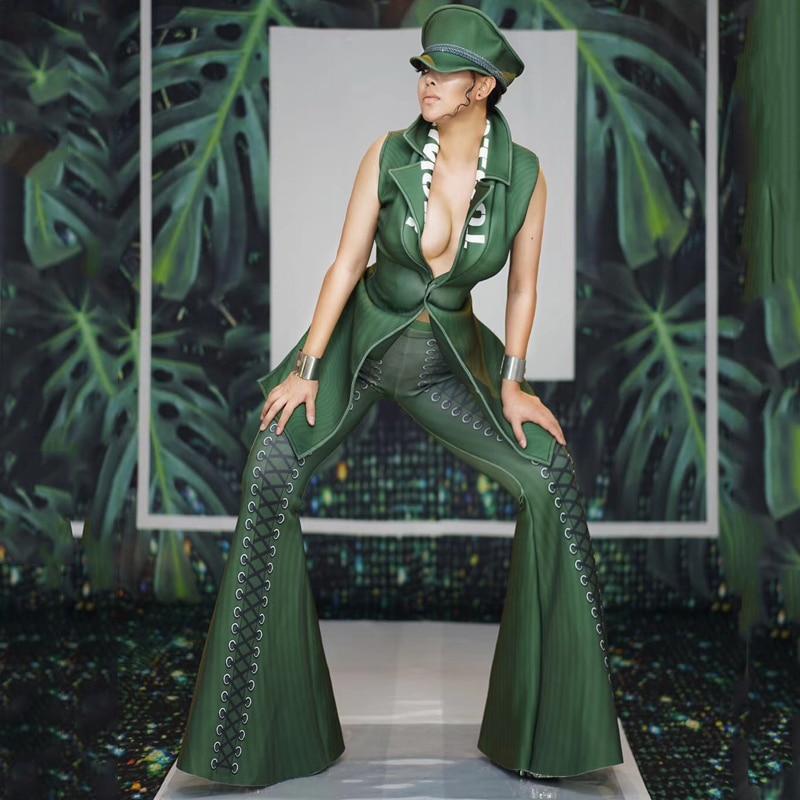 Roupa Feminina Nightclub Women Costume Green Body Suit Spandex Cosplay Soldier Party Clothing Performance Costume Women DJ1172