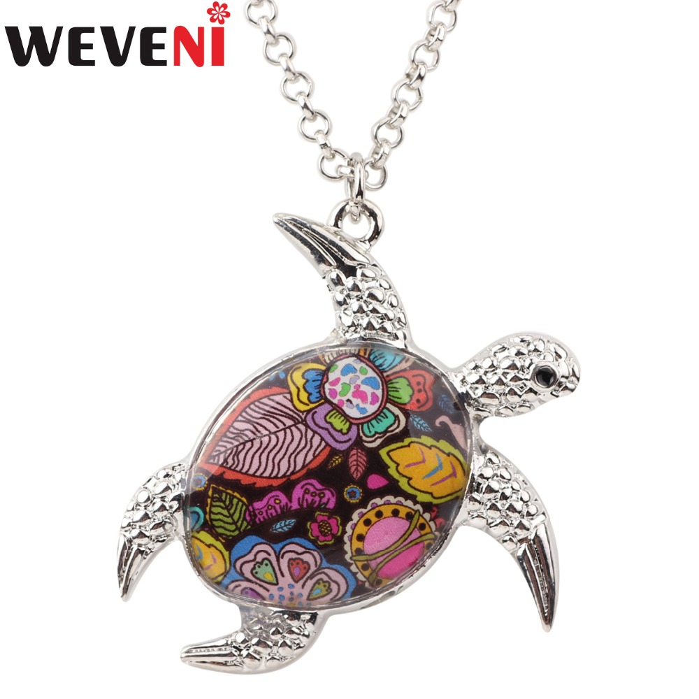 WEVENI Statement Maxi Tortoise Turtle Necklaces Pendants Cha