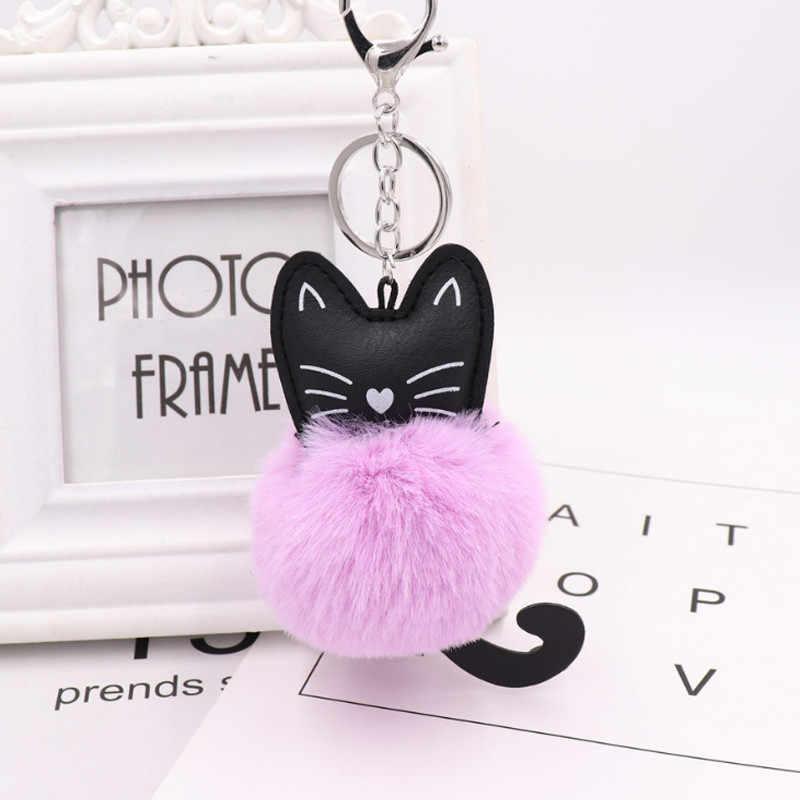 2019 Mini Gato Fulffy Chaveiro Chaveiros PU Couro Artificial Fur Pompom Gato Bonito Saco Chave Anéis de Animais Decoração