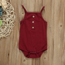 Summer Infant Jumpsuit Newborn Baby Sling Single-breasted Rompers Kids Toddler Bodysuit Unisex Clothes