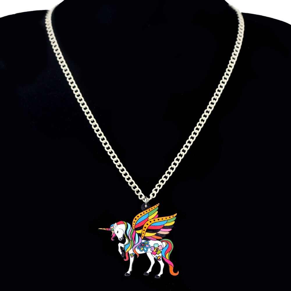 Bonsny อะคริลิคศักดิ์สิทธิ์ Fairy Unicorn Flying ม้าสร้อยคอจี้สร้อยคอแฟชั่นเครื่องประดับอะนิเมะสำหรับวัยรุ่นหญิงของขวัญ