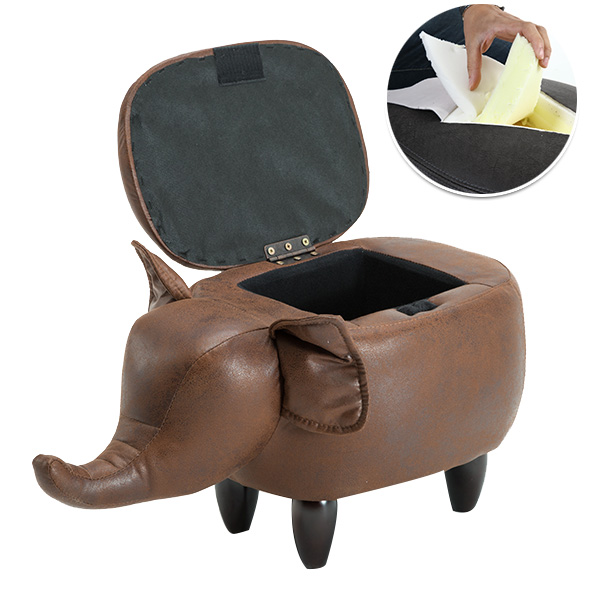 Creative animal Bull bear durable Bronzing Fabric PU Footstool Storage Shoe Bench Sofa with Sturdy Wooden Legs Multicolor