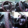 2016 Korean Red Wine Style Faux leather Steering Wheel Covers  Hubs Stretch Four Season Car Accessories 38cm  Universal