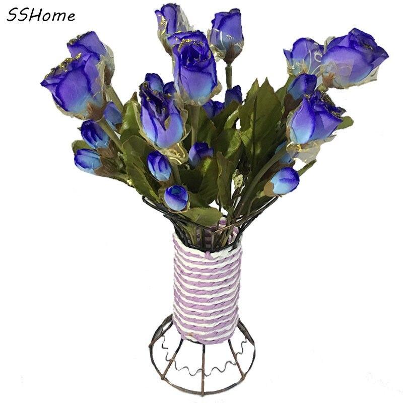 Silk Artificial Flowers Bouquet for Home Decor Golden Edge Fake ...