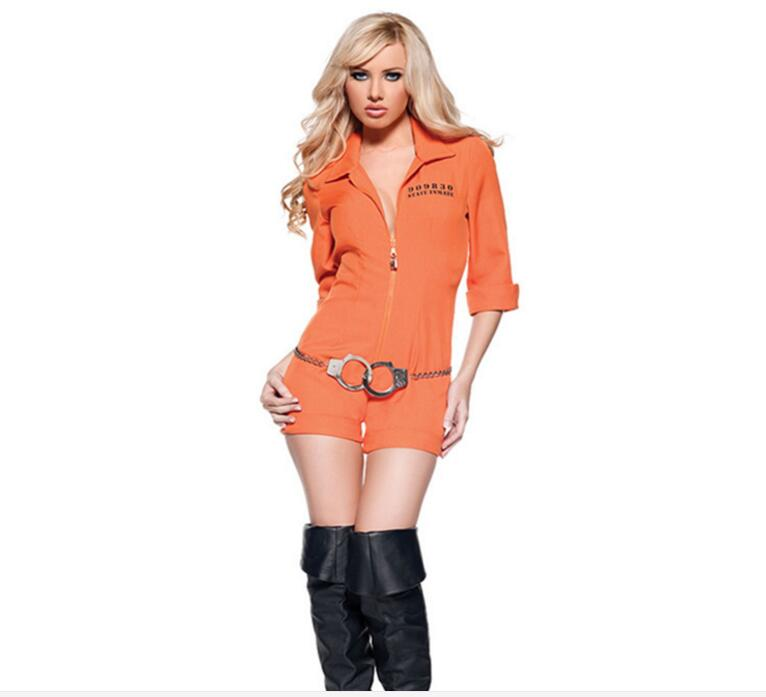 New Fashion Prisoner Costume Women Sexy Convict Orange Outfit Adult Funny Halloween Fantasia Fancy Dress