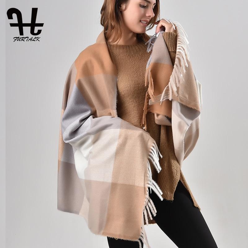 FURTALK viscose plaid   scarf   winter for women luxury brand poncho shawls   scarf     wrap   women