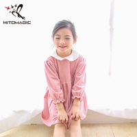 HITOMAGIC Girls Clothes Dresses Princess For Girl Kids Toddler 2018 With Collar Velvet For Party And Wedding Long Sleeve Winter