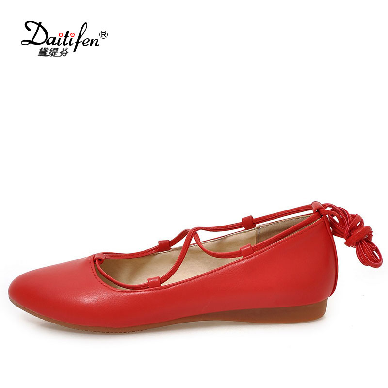 Daitifen Lady Solid Color sweet Flats Shoes Women sexy pointed toe party shoes breathable ankle lace up ladies flats free shipping candy color women garden shoes breathable women beach shoes hsa21