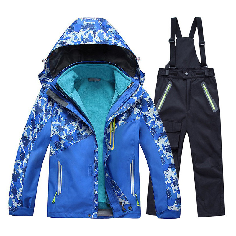 2017 New Kids Boys Girls Skiing Jacket+Pant Snow Suit 20 30 DEGREE Winter Wterpoof Clothing Set Children Camouflage Coat