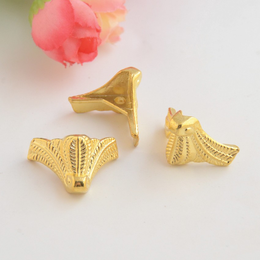 Free Shipping 10Pcs Golden Jewelry Gift Box Wood Case Decorative Feet Leg Corner Protector 19x24mm J3084