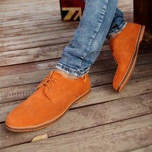 Image 4 - Мужские замшевые туфли на плоской подошве, со шнуровкой, размеры 39 48