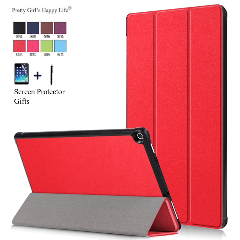 for Amazon Kindle Fire HD 10 2017 Tablet Case For Amazon HD 10 2017 Slim Smart Flip Leather Stand Cover Capa Fundas+Film Stylus white tablet protection cover ultra slim leather case stand cover for amazon kindle fire hd 7 tablet best case for tablet