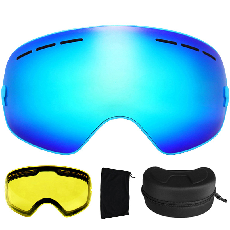 Prix pour Ski Lunettes UV400 Lunettes de Ski À Double Lentille Anti-buée Ski Snowboard Lunettes Ski Lunettes Avec une Boîte et un Lentille supplémentaire