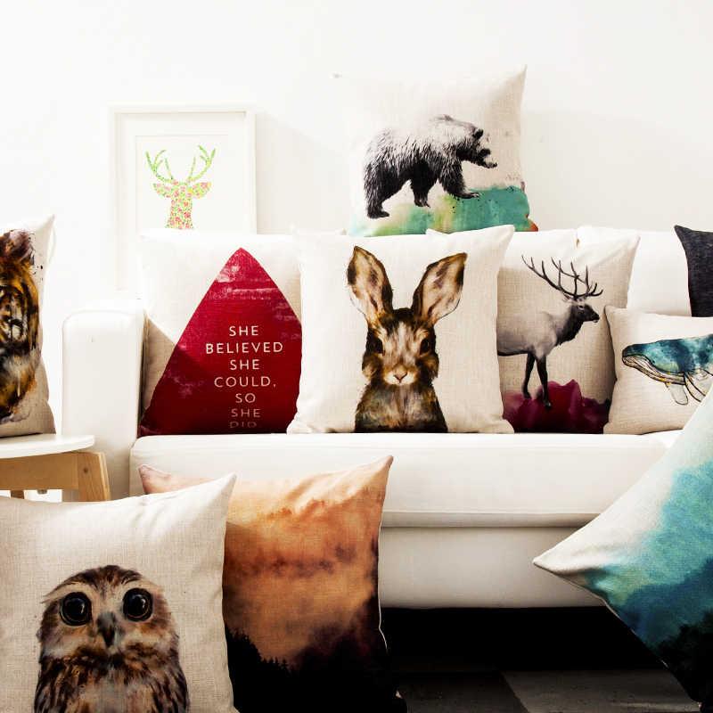 Скандинавские животные акварельный волк Медведь Олень Тигровая Подушка Наволочка, домашний декор толстые льняные наволочки для диванной подушки