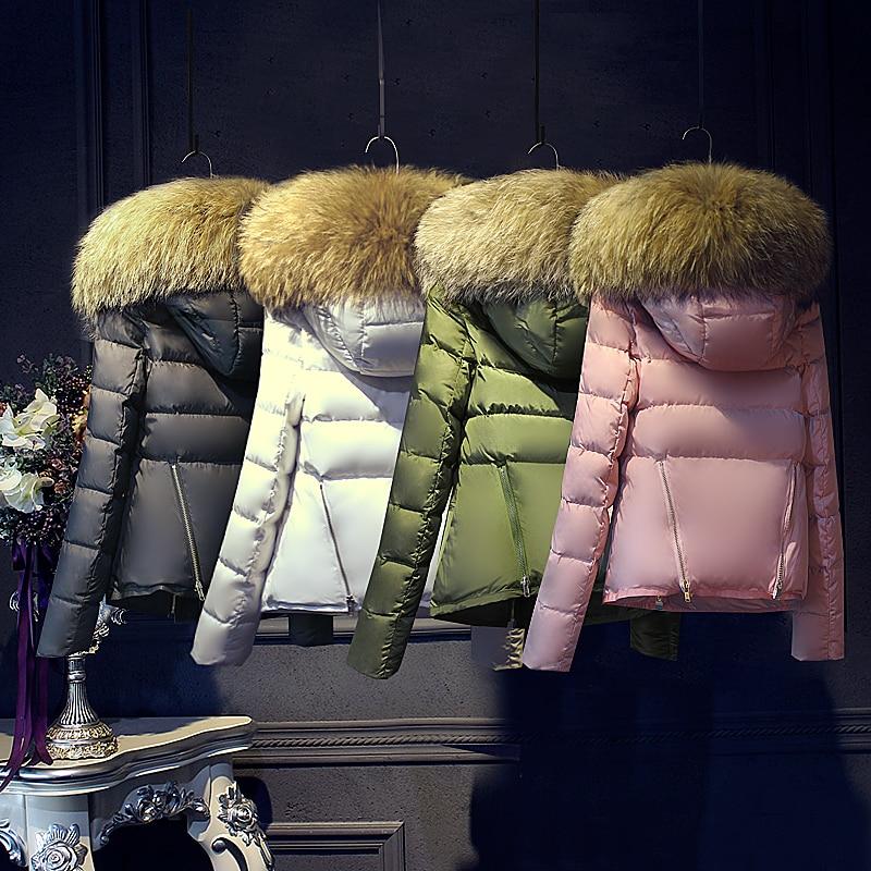 Luxury Big Real Natural Raccoon Fur Coat With Hooded Europe Fashion 2017 Short Womens Winter Jackets Korean Female Casua Parkas luxury finland raccoon fur hooded 90