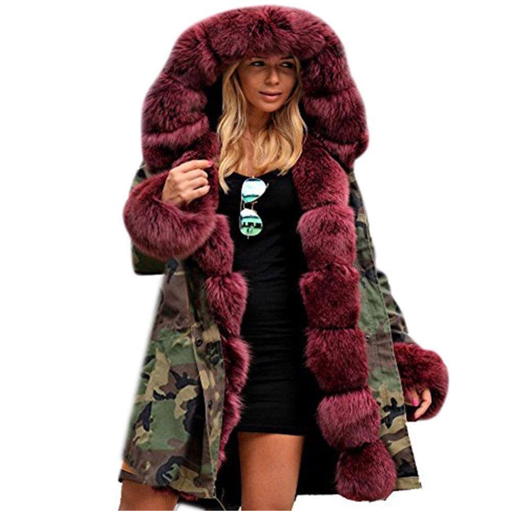 CHAMSGEND Womens Faux Fur Winter Jacket Parka Hooded Coat Fishtail Long Sleeves Overcoat Women Army Green Cotton Jacket Se14