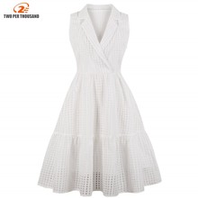 S-4XL Plus Size White Plaid Office Lady Formal Dress Women Elegant 2018 Vintage Style Party Sexy Dresses A Line Summer Dress