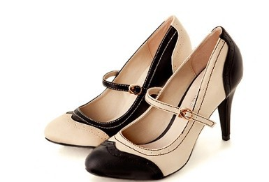 Women Sewing Patchwork Buckle strap Big Size Heels (34-46) OL shoes Ladies full genuine leather high heels Sandalias Kvoll Pumps