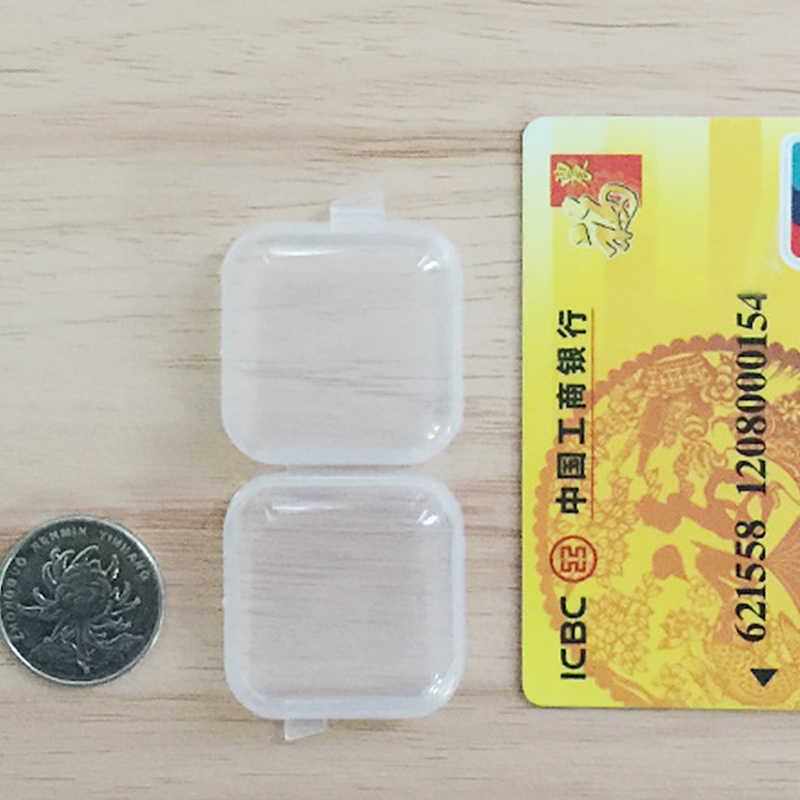 WIILII 1 Pc Mini Plástico Transparente Pequena caixa de Jóias Caixa de Armazenamento Caso Box Container Tampões Do Grânulo Presente De Armazenamento Organizador de Maquiagem Clara