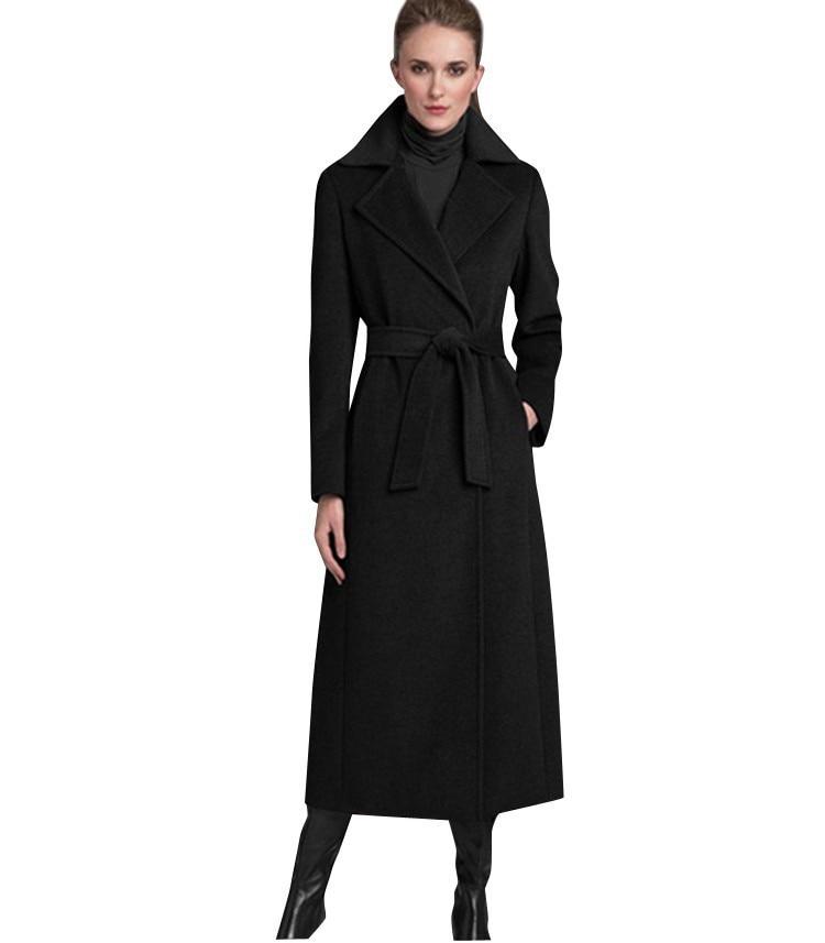 sale best supplier united states US $51.51 49% OFF|Brand New UK 2018 Fall / Winter Women Notched Lapel Black  Woolen Maxi Long Coat Slim Belt Robe Overcoat Casacos femininos S XL-in ...