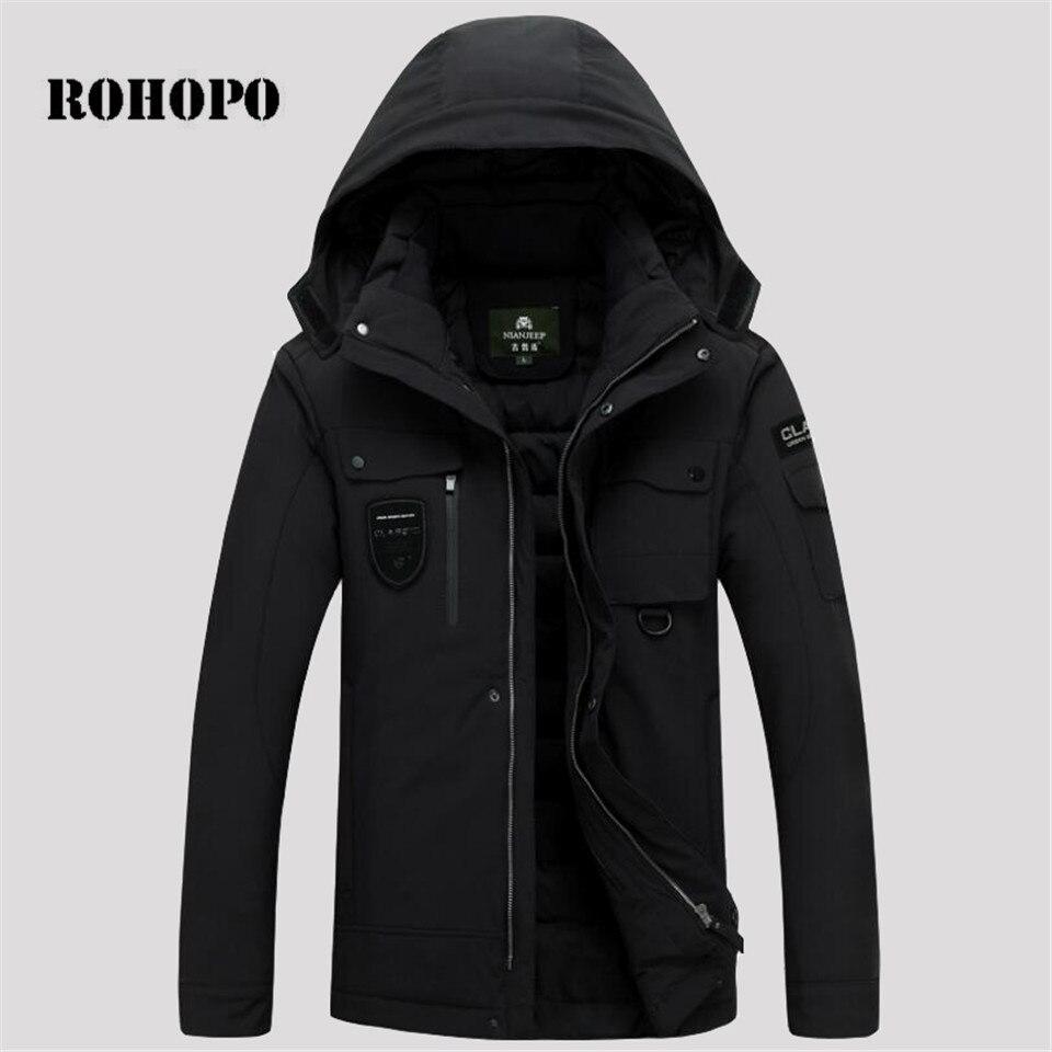 ROHOPO   Down   Jacket Waterproof hooded collar Warmly sportswear   down   jacket men military tactical   down     coat   male pocket   down     coat