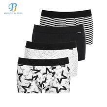 PINK HEROES 4Pcs / Lot Men Underwear Boxers Cotton Print Black White Gray Men Boxer Underwear Sexy Comfort Men Shorts Panties