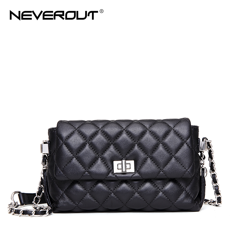 NEVEROUT Lattice Shoulder Bags for Woman Leather Cross Body Flap Bag High Quality Ladies Casual Quilted