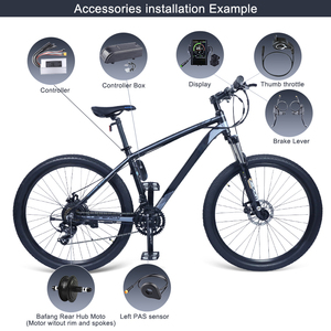 "Image 5 - Bafang 500W 48V Gear מנוע חשמלי אופני המרת ערכת אופניים 20 ""26"" 27.5 ""700C אחורי גלגל Ebike ערכת ללא שפה"