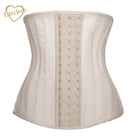 Nude Latex Waist Cincher Waist Trainer Corset Slimming Body Shaper Belly Workout Tummy Fat Burner 25 Steel Boned Corset Top