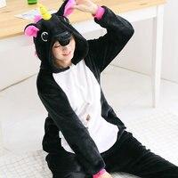 Black Pegasus Adult Unicorn Pajamas Onesies Adult Animal Christmas Unicorn Pajama Carnival Costume Hoodie Pyjamas Cosplay