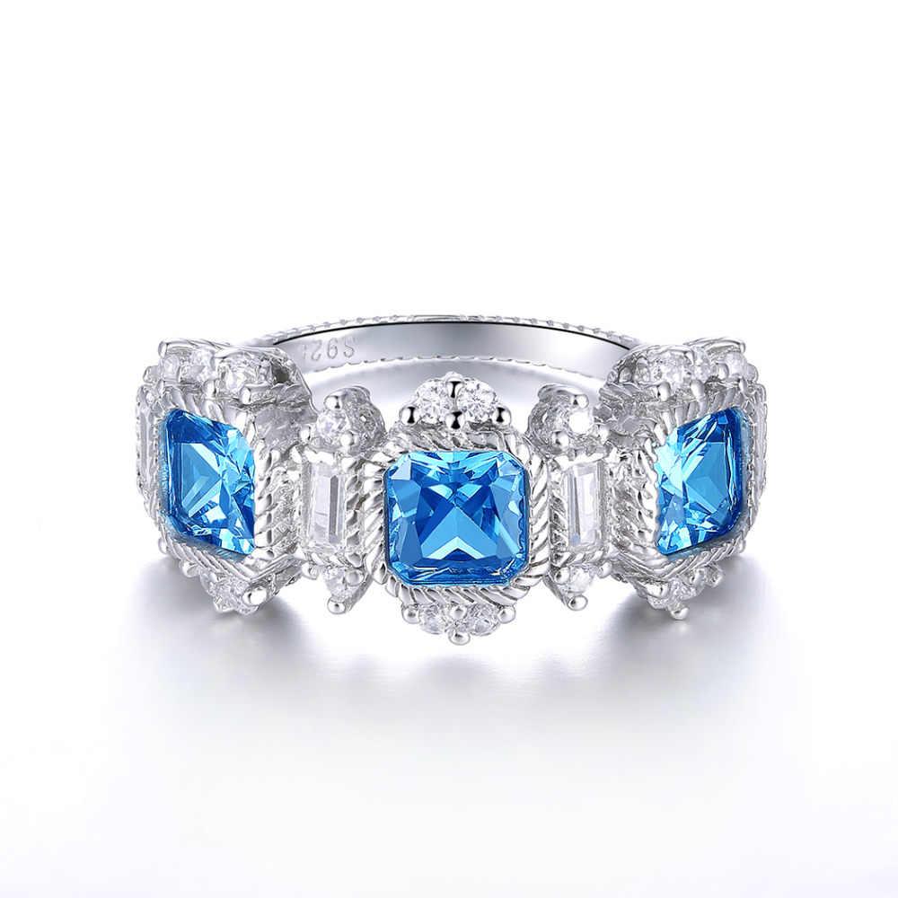 JCเลดี้หรูหรางานแต่งงานของแท้สีฟ้าและมรกตทับทิมสีชมพูบุษราคัมวิจิตรเครื่องประดับ100%แข็ง925แหวนเงินขนาด6 7 8 9