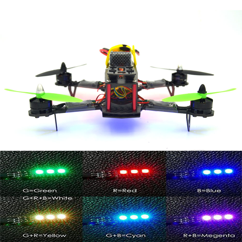 LED rc helicopter 250mm Carbon fiber Frame+CC3D Flight Controller brushless Motor+12A ESC FS-I6 QAV250 RTF mini drone Quadcopter rc plane 210 mm carbon fiber mini quadcopter frame f3 flight controller 2206 1900kv motor 4050 prop rc